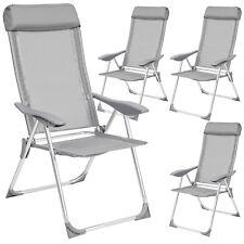 Set di 4 alluminio sedie da giardino pieghevole poltrona campeggio grigio