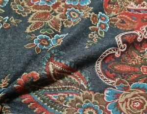 """Knit Jersey Fabric Border Paisley Printed 49"""" Wide"""