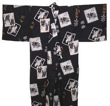"""Mens Yukata Japanese Summer Kimono Sumo Made in Japan 60"""" #L EK221"""