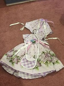 "Daisy Kingdom Purple Flower Dress For 18"" Vinyl Play Doll American Girl Size"
