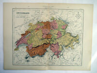 Antique Map Of Switzerland & The Alps 1871
