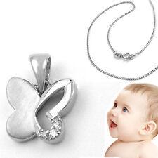 Baby niños mariposa remolque real trébol 333 8 kt con 36 cm cadena de plata