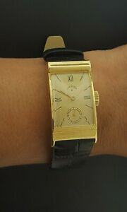LORD ELGIN 20mm Retro Watch Fancy Case 14K YG Leather Band Cal. 559 Mechanical