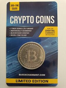 Bitcoin Antiqued 1oz .999 Silver Bullion Coin with Card ERROR 2020 Crypto Series