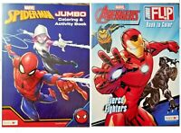 SPIDERMAN/AVENGERS Lot of 2 Jumbo Coloring and Activity Books for Children