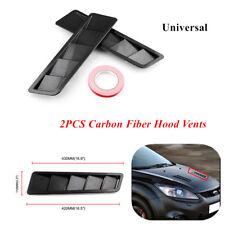 2PCS Universal Car Hood Vents Louver Cooling Panel Left Right Black Matte Finish