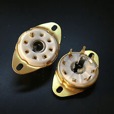 10PCS 8Pin Ceramic Gold  B8G Vacuum Tube Sockets for 5B254 7N7 ECH21 5B255M C3G