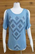 "Vocal ""Cold Shoulder"" Top! Beautiful ice blue color, bling!! - Sz XL #14256S"