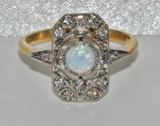 Art Deco 9ct Yellow Gold on Silver Opal Cabochon Cluster Ring - size R