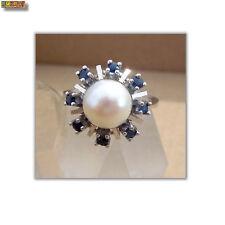 Ring mit Perle und Saphir 585 Gold 14k Weißgold