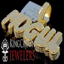 Mens Real Yellow Gold Silver Rapper Style Mogul Custom Charm Lab Diamond Pendant
