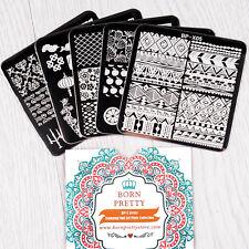 BORN PRETTY Lot de 5 Plaques Stamping Pochoirs Carrés Nail Art 6*6cm BP-X01~X05
