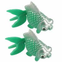 Fish Tank Ornament Simulated Grn Plastic Goldfish 2 Pcs