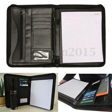 A4 Executive Conference Folder Zipped Folio Faux Leather Document Portfolio Case