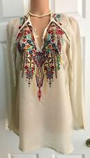 NWT- JOHNNY WAS EMBROIDERED SERENDIPITY BOHO CHIC TUNIC TOP- Sz M