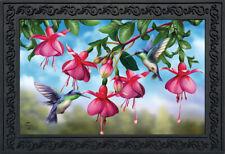 """Flight Of The Hummingbirds Spring Doormat Floral Indoor Outdoor 18"""" x 30"""""""