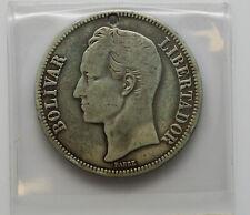 1935 VENEZUELA 5 BOLIVARES SILVER COIN. .900 FINE