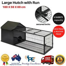 Large Hutch with Run Home for Small Animals Pet Rabbit Guinea Pig Cage Farm Yard