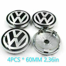4pcs <60mm> Black Silver Wheel Center Caps Emblem VW Volkswagen Golf Passat Bora