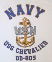 USS CHEVALIER  DD-805* DESTROYER U.S NAVY W/ ANCHOR* SHIRT