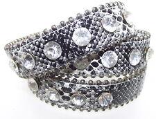 Snakeskin Style Wrap Crystal and Leather Bracelet or Anklet Design 3