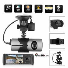 "Car HD DVR Dual Camera Cycle Record Video Dash Cam G-sensor 2.7"" LCD GPS Logger"
