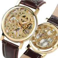 Mechanical Watch Automatic Wrist Watch Engraving Hollow Skeleton Leather Band