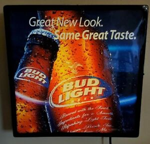 """RARE BUD LIGHT """"GREAT NEW LOOK. SAME GREAT TASTE"""" LIGHTED SIGN 2004  18X18"""