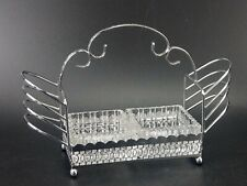 More details for vintage chrome toast rack with glass butter and jam dishes
