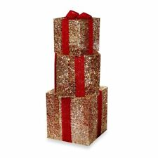Set of 3 Lighted Ruby Gift Boxes