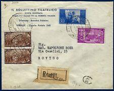 1948 - Raccomandata da Firenze - Affrancatura multipla con commemorativi