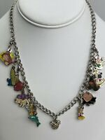 Disney  Mickey Mouse Bead  Crystal Charm Necklace Plus 10 Clip Charms