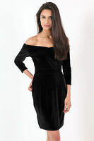 WOMENS 3/4 SLEEVE BARDOT STRETCHY VELVET SHORT MINI PARTY DRESS SIZE 8-14 UK