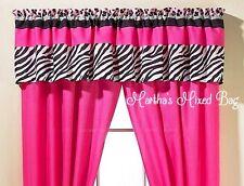 "SAFARI JUNGLE Girls Teen PINK Black & White ZEBRA PRINT Window VALANCE 16""x 84"