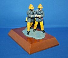 More details for 1970's british firemen metal figures on wood plinth (hand painted) by phoenix