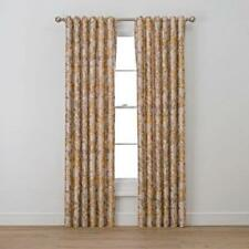 Richloom Curtain Pair Luella Nature/Floral Semi-Sheer Rod Pocket Classic Gold