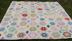 """large 1930s Flower Garden cotton quilt, machine quilted, 85"""" x 80""""  *"""