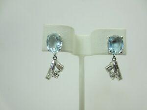 14K White Gold 3.50 Carat Aquamarine and Diamond Dangle Earrings 4.00 Carats TW