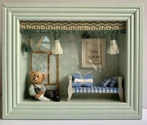 Vintage Baby Boy Frame Photo Shadow Box Picture Blue Green Teddy Bear Nursery
