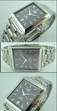 """Q&q reloj hombre 4-año-calendario día/fecha completamente de acero inoxidable """"Exclusive Design"""""""