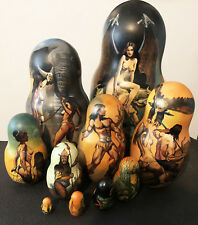 """Attention Collectors, Art nouveau """"Nudes"""" Russian One of kind Nesting Doll 10pc"""