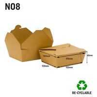 No 8 Kraft Food Box Deli Takeaway Noodles Rice Pasta Folding Lids Biodegradable