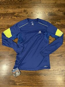 New with Tags Salomon Men's Agile LS Tee Long Sleeve Shirt, Size Small Blue