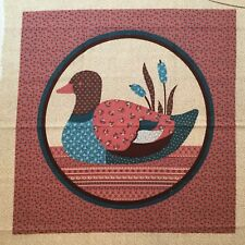 """Vtg VIP CALICO PATCHWORK PRINTED FABRIC PILLOW TOP Duck & Cattails 14.25""""+"""