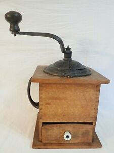ANTIQUE ARCADE MFG CO IMPERIAL DOVETAIL WOOD CASE CAST IRON COFFEE GRINDER MILL