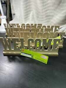 (5) Ready To Paint Wood  Welcome Sign Decorative Wooden Letters  Mantle Or Shelf