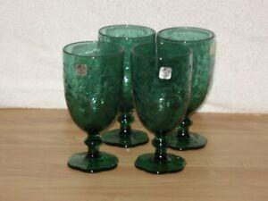 NEW Princess House Fantasia  4 Green Ice Beverage Glasses 5230