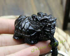 Black Wood Three Dimensional Hand Carved Chinese Dragon Turtle Pendant Key Chain