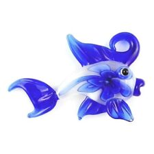 1Pcs Fine Royal Blue Lampwork Glass Carved Fish Pendant Bead F-Fine