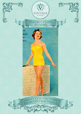 Vintage Knitting Pattern-How to make a 1950s elegant swimsuit swimming costume